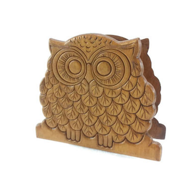 Vintage Carved Wood Owl Napkin Letter Holder, Mail Bill Organizer, Office Organization, Kitchen Storage, Boho Chic, Retro Decor, Bohemian