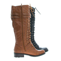 Timberly65 By Wild Diva, Knee High Metal Accent Corset Lace Up Military Combat Boots