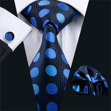 FA-796 2016 Men`s Tie Polka Dot Silk Classic Jacquard Woven Tie Hanky Cufflinks Set For Men Business Wedding Party Free Shipping