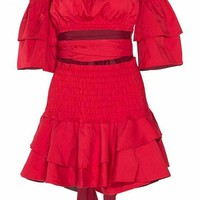 Red Ruffle Off The Shoulder Matching Set