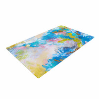 "Ebi Emporium ""When We Were Mermaids"" Blue Yellow Woven Area Rug"