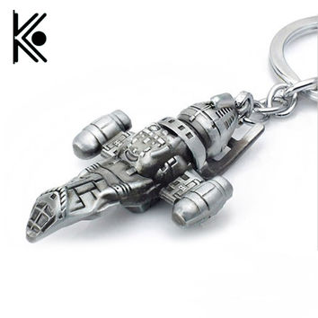 Movie Star Wars Firefly Serenity Replica HD Space Ship Metal Key Rings Keychains Purse Buckle Film Surrounding Key Chains