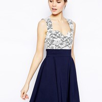 Vesper Skater Dress with Lace Sweetheart and Peplum Detail