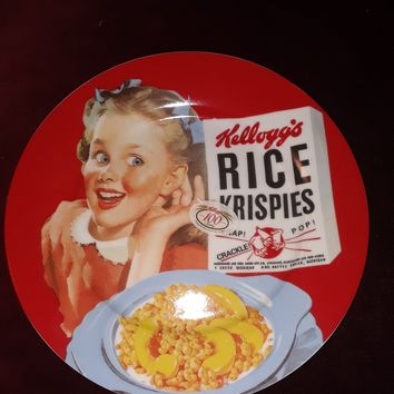 "NEW VINTAGE KELLOGG'S Breakfast PLATE 8"" RICE KRISPIES Girl 100th Anniversary"