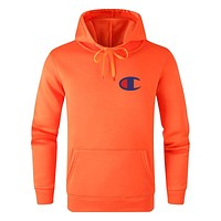 Champion Autumn And Winter New Fashion Bust Logo Print Women Men Leisure Hooded Long Sleeve Sweater Orange