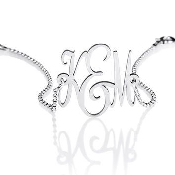 "Monogram Bracelet - 925 Sterling Silver Bracelet - 1"" personalized monogram jewelry - monogrammed gifts"
