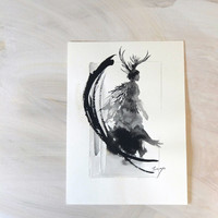 Angel with horns, sumie drawing, gold glitter, Home Decor, Interior, Wall Painting, Japanese and Asian Art, Black ink Sumie