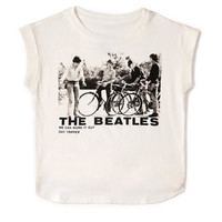 FOREVER 21 GIRLS The Beatles Boxy Tee (Kids) Cream/Black X-Small
