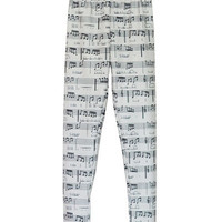 White Musical Score Print Leggings