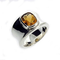 Molten Silver And Citrine Ring