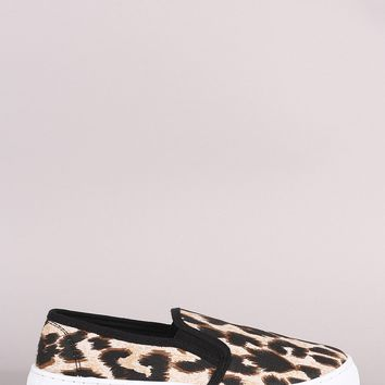 Qupid Leopard Canvas Slip-On Sneaker