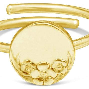 Sterling Silver and Gold Vermeille Circle Silver Spoon Ring