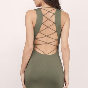 Think Straight Lace Up Midi Dress