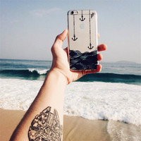 New Ultra Thin Anchor Sea Music Feather Design Transparent Soft TPU Phone Case Coque For iPhone SE 5S 6 6S 6Plus Fashion Cover