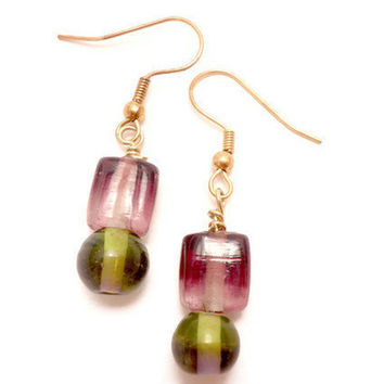 Earrings with Green and Purple Glass by Septagram on Etsy
