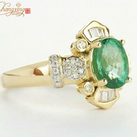 natural 1.53ct greem emerald with 0.45ct diamond engagement ring 14kt yellow gold promotion