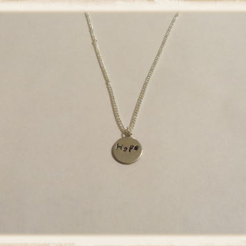 Hope necklace, silver necklace, gifts for her, women jewelry, girls necklace, hand stamped necklace, children necklace