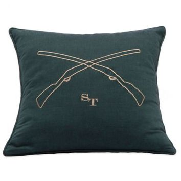 Southern Tide Woodlands Gun Embroidery Throw Pillow in Forest Green