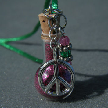 Potion Bottle Pendant  Peace Pink and Green by Valiantstudios