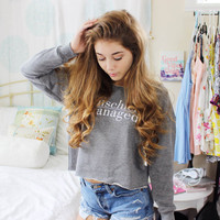 Harry Potter Clothing Mischief Managed Athletic Cropped Sweatshirt- American Apparel