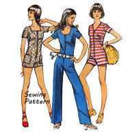 Simplicity 9981 Teen Junior Petite Summer Zip Front Jumpsuit or Romper Sewing Pattern Vintage 1970's Size 7 Bust 32in /81cm UNCUT