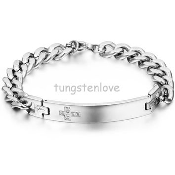 21-22CM Classy Mens Women's High Quality Solid Cross Id Bracelet Stainless Steel Bracelets Bangles For Couples Silver Tone