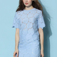 Peaceful Blue Leaves Top and Skirt Set Blue