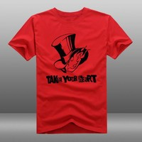 New Persona 5 T-shirt Fashion Game TAKE YOUR HEART t-shirt Cotton Summer Short-sleeve loose Tees tops