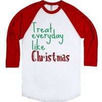 Elf Treat Every Day Like Christmas-Unisex White/Red T-Shirt