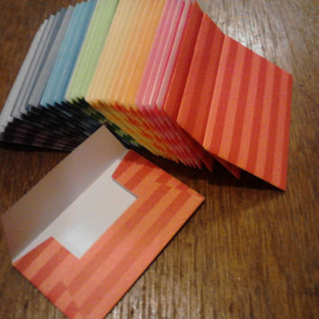 100 Gift Card/ Business Cards Envelope Trios - Stripes - Assorted Colors