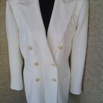 Vintage Blazer  - suit coat - jacket Lauren Ralph Lauren Size 8 Cream - off white double breasted - 4 button cuffs - 6 button front -