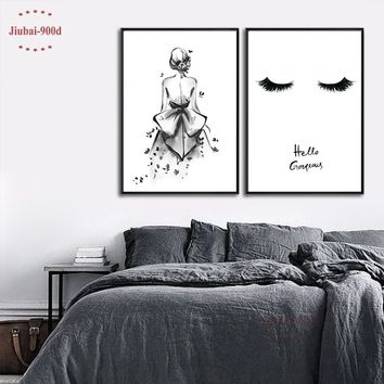 Black Watercolor Girl Picture Canvas Art Wall Painting Poster Canvas Painting Decorative Pictures,Print Picture Wall Art S16059