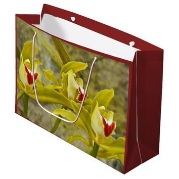 Green Cymbidium Orchids Floral Large Gift Bag