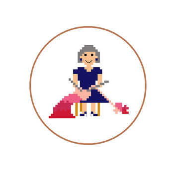 Hand embroidery pattern of knitting grandma creating an ombre blanket at home. Pixel people pattern for mother in English, Spanish and Dutch