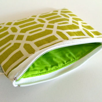 Coin Purse Coin Bag Small Cosmetic Clutch in Green Lattice