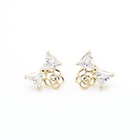 Bow flower earrings
