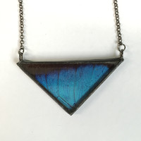 Large Morpho Triangle Pendant 2""