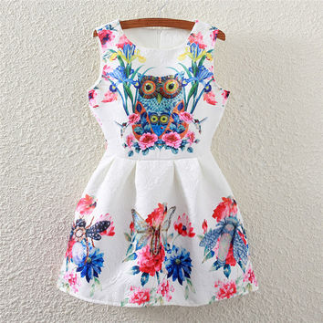 Summer Women's Fashion Owl Floral Print Sleeveless Vest One Piece Dress [4919365956]