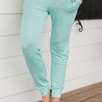 Distressed Terry Jogger Sweats - Mint