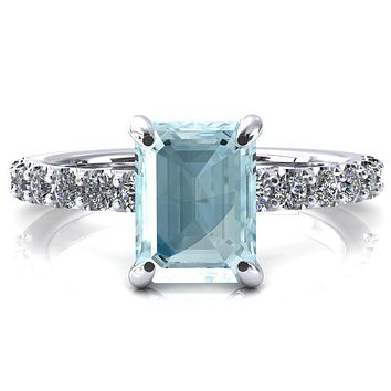 Alessi Emerald Aqua Blue Spinel 4 Claw Prong 3/4 Micro Pave Engagement Ring