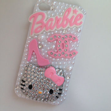 Kitty & Barbie Sparkly Crystallised Bling iPhone 4/4s Protective Cell Phone Case Cover