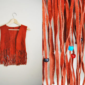 Womens Vintage Red Brown Suede Fringe Tassel Vest Boho Hippie Woodstock  Beaded