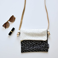 Specks & Spots Fold Over Sling Bag with Genuine Leather Strap - Small Bag with strap fold over bag.