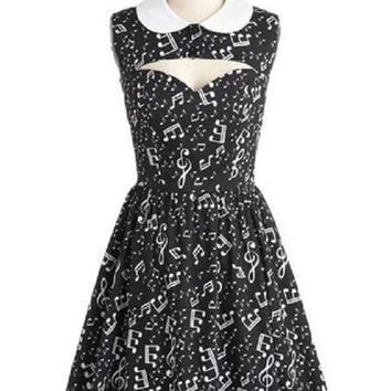 Summer Dress Women Musical Notes Print Peter Pan Collar Dresses Retro Hollow Out Chest Casual Party Club Slim Dress