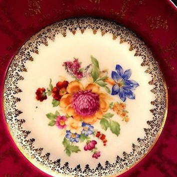 c1930 Porcelain Hand Painted Scalloped Plate Ruby Red Made in Czechoslovakia