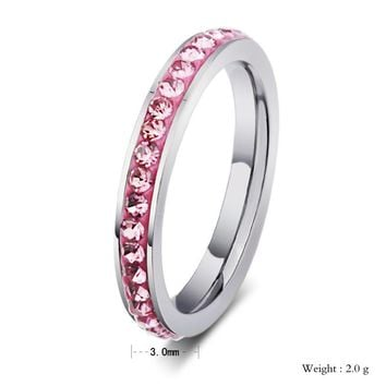 Alisouy 3mm Stainless Steel Ring Women CZ Inlay Size5-9 Wedding Bands Ring Colourful Single Row Crystal Wedding Rings For Women