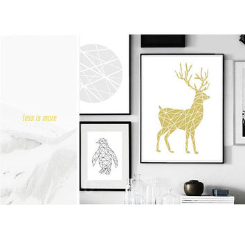 Deer, Nature, Polygon art, Gold print, Line art, Swedish, Home Decor, Modern art, Scandinavian Print, Printable art, digital Print