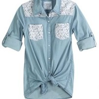 Lace Pocket Denim Shirt | Girls Shirts Clothes | Shop Justice