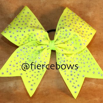 Neon Yellow Ice Princess Rhinestone Cheer Bow