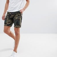ASOS Chino Shorts With Camo Print at asos.com